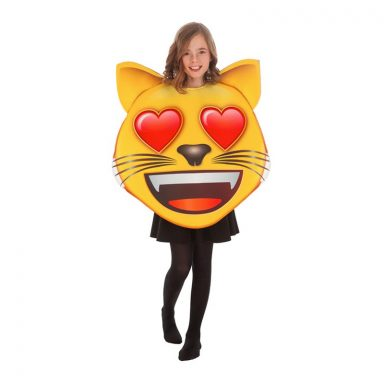 Emoji Cat Heart Børnekostume - One size