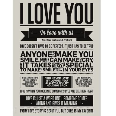 I Love My Type Plakat - 50x70 - I Love You - Warm Grey