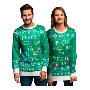 Filthy Animal Grøn LED Julesweater - X-Small