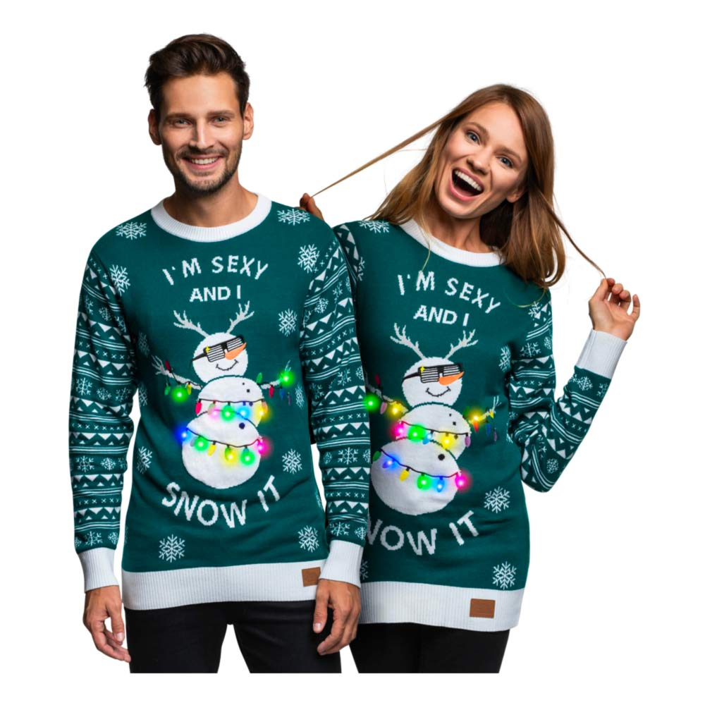 I'm Sexy and I Snow It Grøn LED Julesweater - X-Small